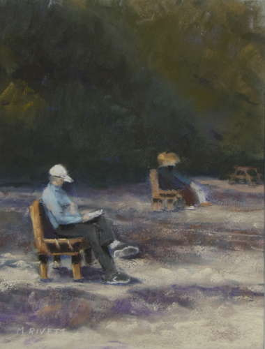 Beach Reader, Pastel, 12x16 (framed: 16x20), $$400.0000