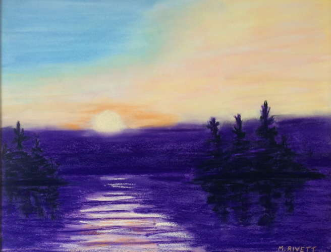 Sunrise, Lorimer Lake, Pastel, 14x18 (framed: 20x30), $$350.0000