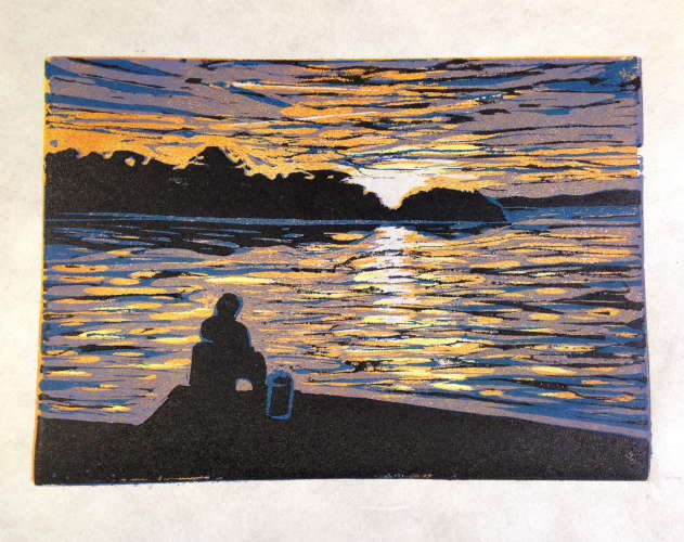 Sunset Fishing, Ink, 5x7 (framed: 10 x 12), $$50.0000