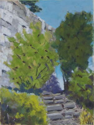 Niagara Gorge Path, Pastel, 9x12 (framed: 16x20), $$275.0000